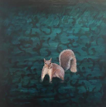 "Squirrel - oil on canvas - 30"" x 30"""