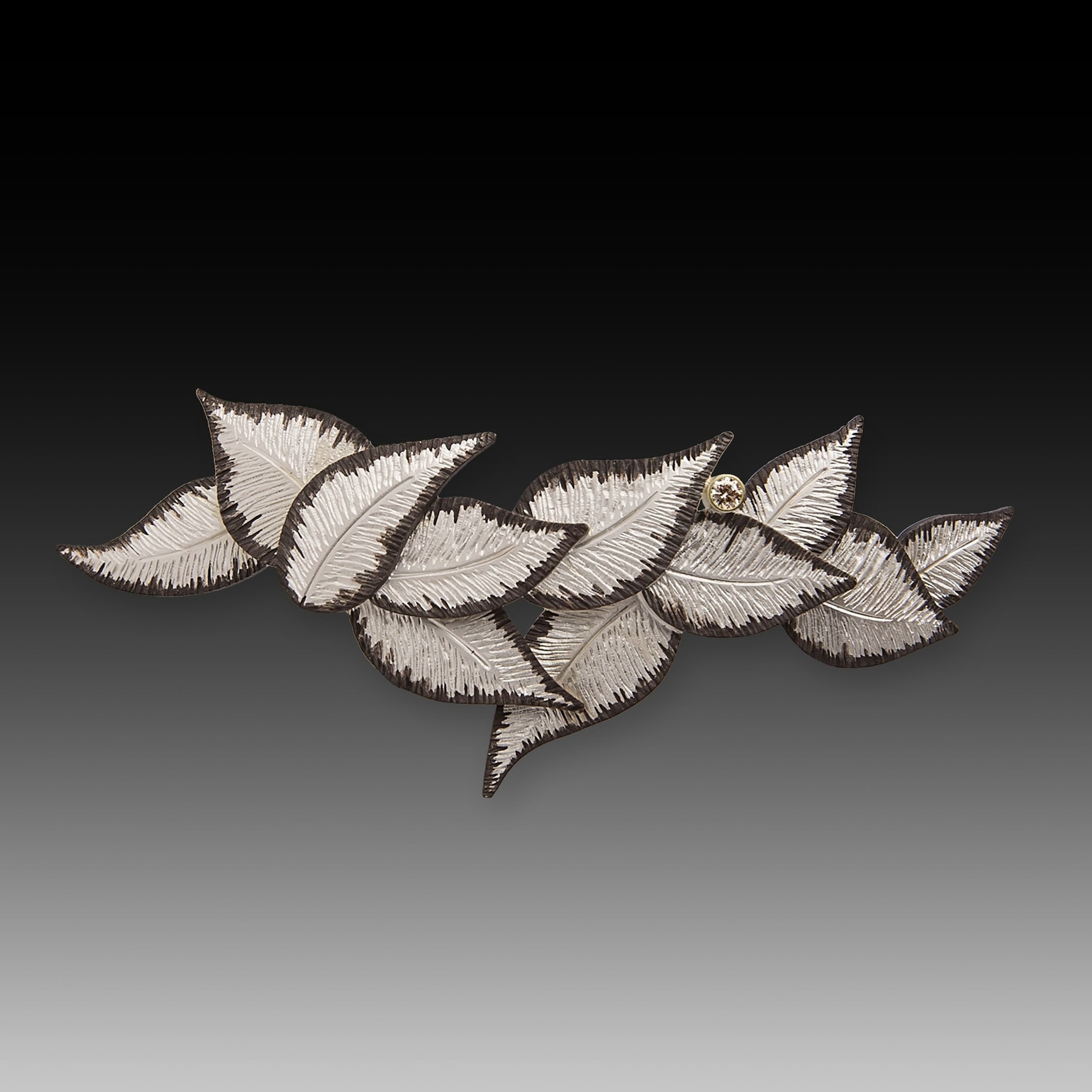 White Leaves with Black Edges