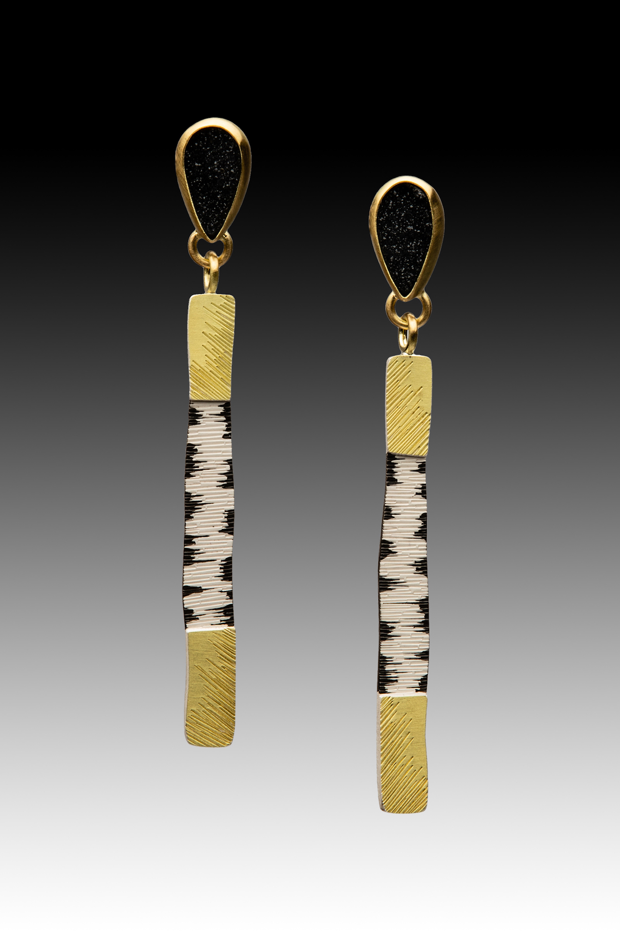 Long Bar Earrings with Druzy's