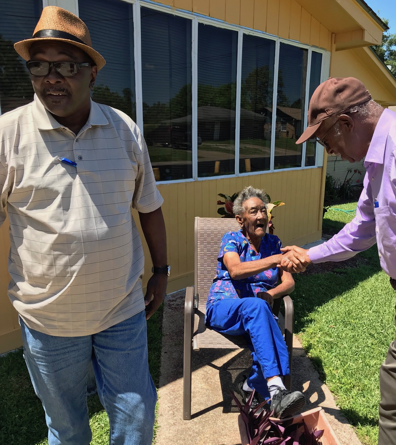 Meeting residents in Forest Heights, Mississippi.
