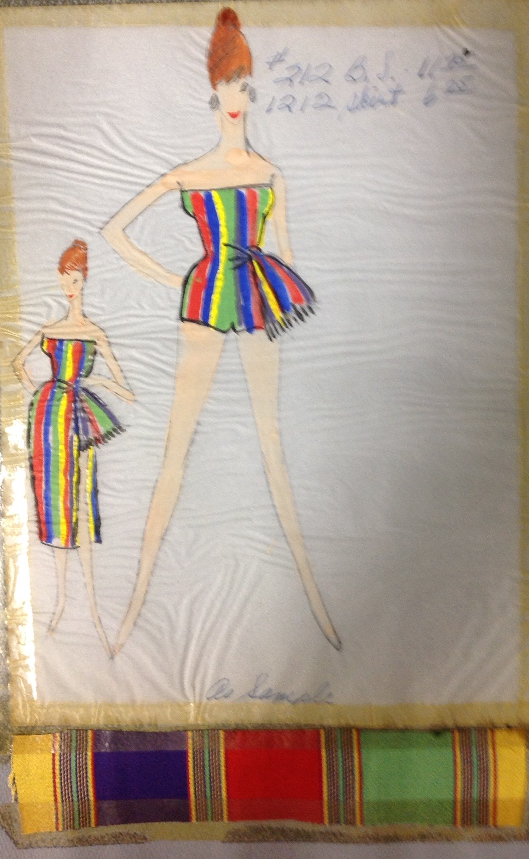 - A colorful, pattered play suit with side sash...and a cover up. As women re-evaluated social norms about just how much body they could show, clothing with