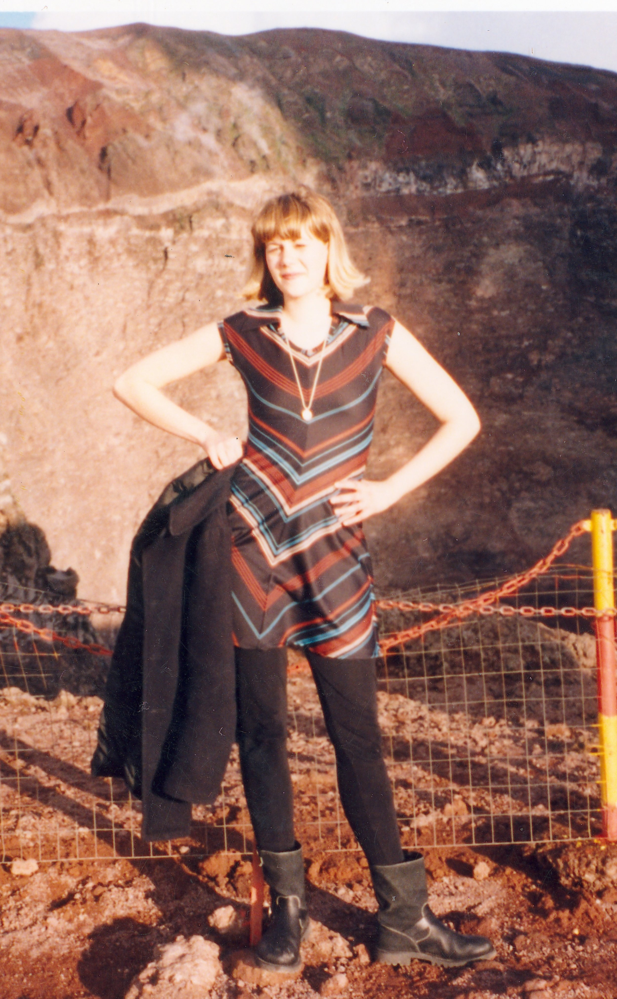 A hike up Mount Vesuvius in a 99-cent, polyester wonder from the Salvation Army in Altoona, PA. Motorcycle boots courtesy of a little shop in Rome. -
