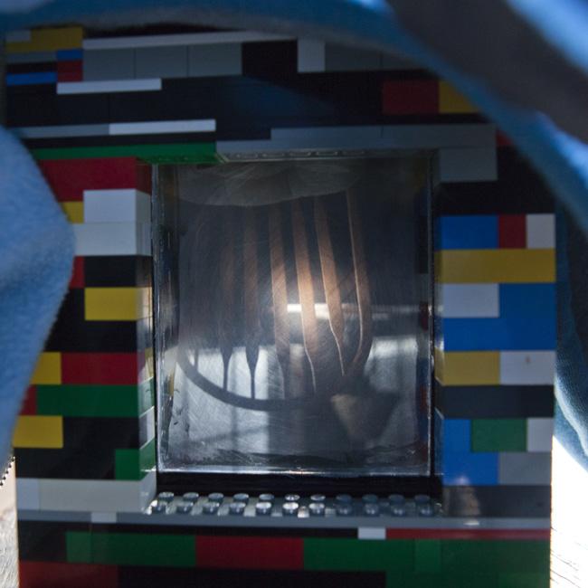 A chair, as seen through the ground glass.