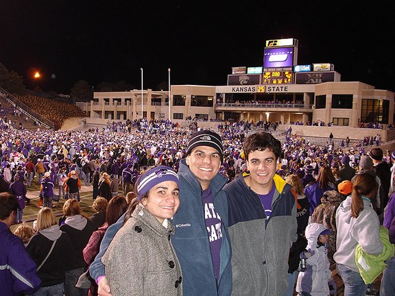 Aveen Alkhatib (left), sister of Weesam (middle)and Shwan at Bill Snyder Family Stadium in 2006.