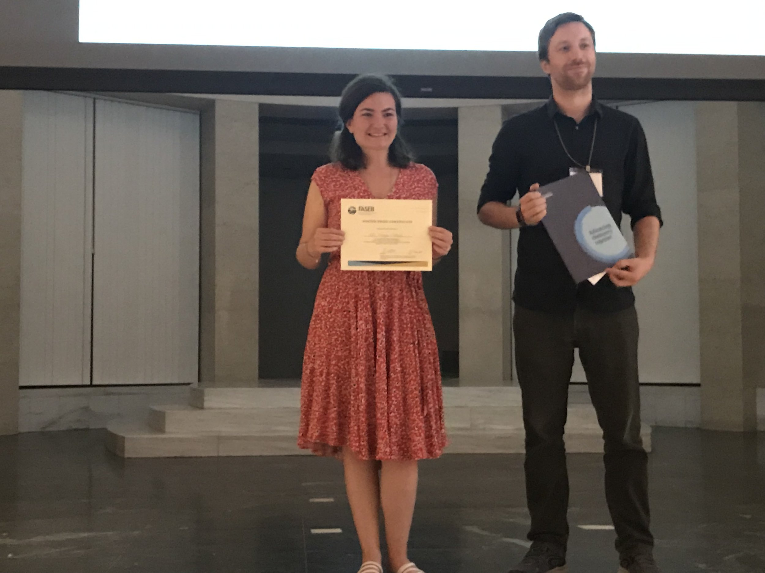"- Congratulations to Idil for receiving an award for best short talk at the FASEB Protein lipidation conference for her presentation ""Discovering unique functions and regulation of the calcineurin isoform, CNβ1, targeted to membranes via palmitoylation"""