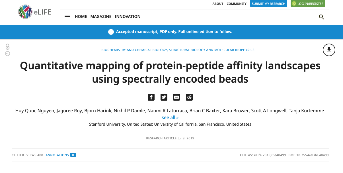 - Our paper with the Fordyce lab is now published on eLife!
