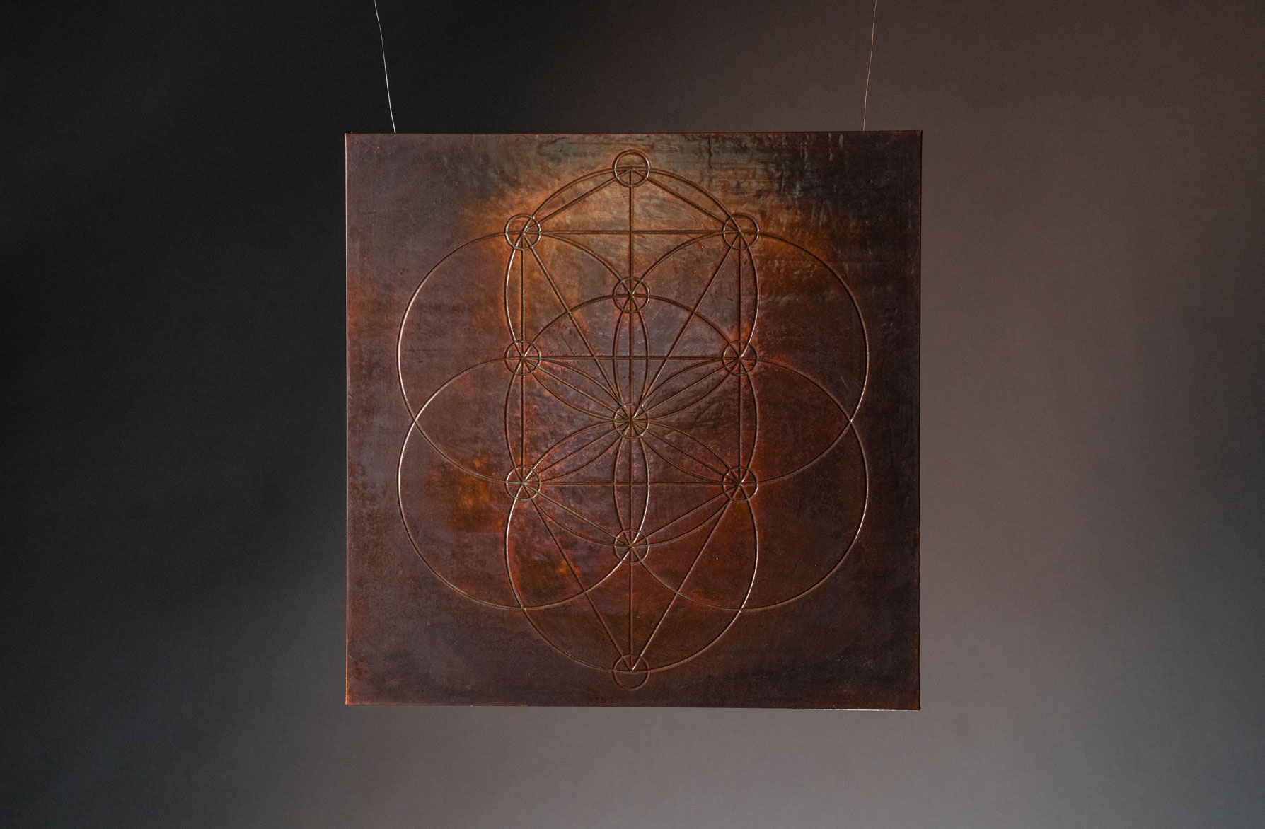 TREE - Derived from the Flower of Life, Tree geometric form, throughout the spiritual cosmos, depicts a map of creation and is said to act as a template from which all life springs. God is in the details.MATERIAL: Copper