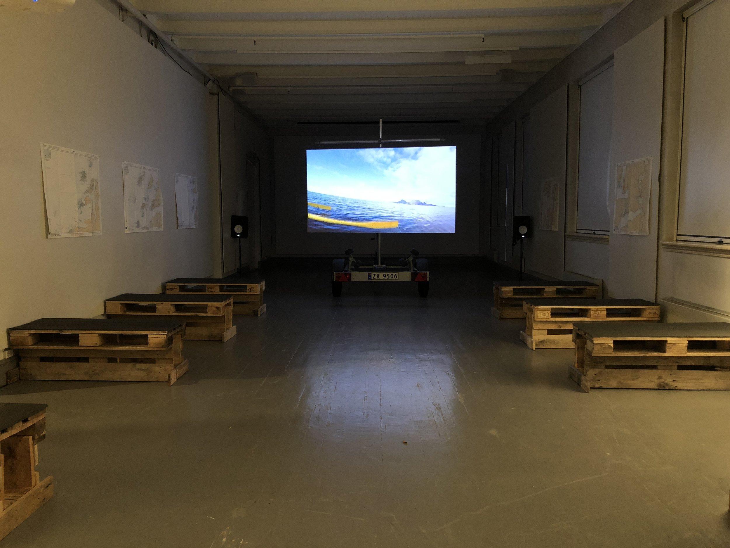 Dokumentasjon av prosjektet  Vi ror til Tromsø (2018)  av Søssa Jørgensen og Geir Tore Holm. Foto: Hilde Sørstrøm