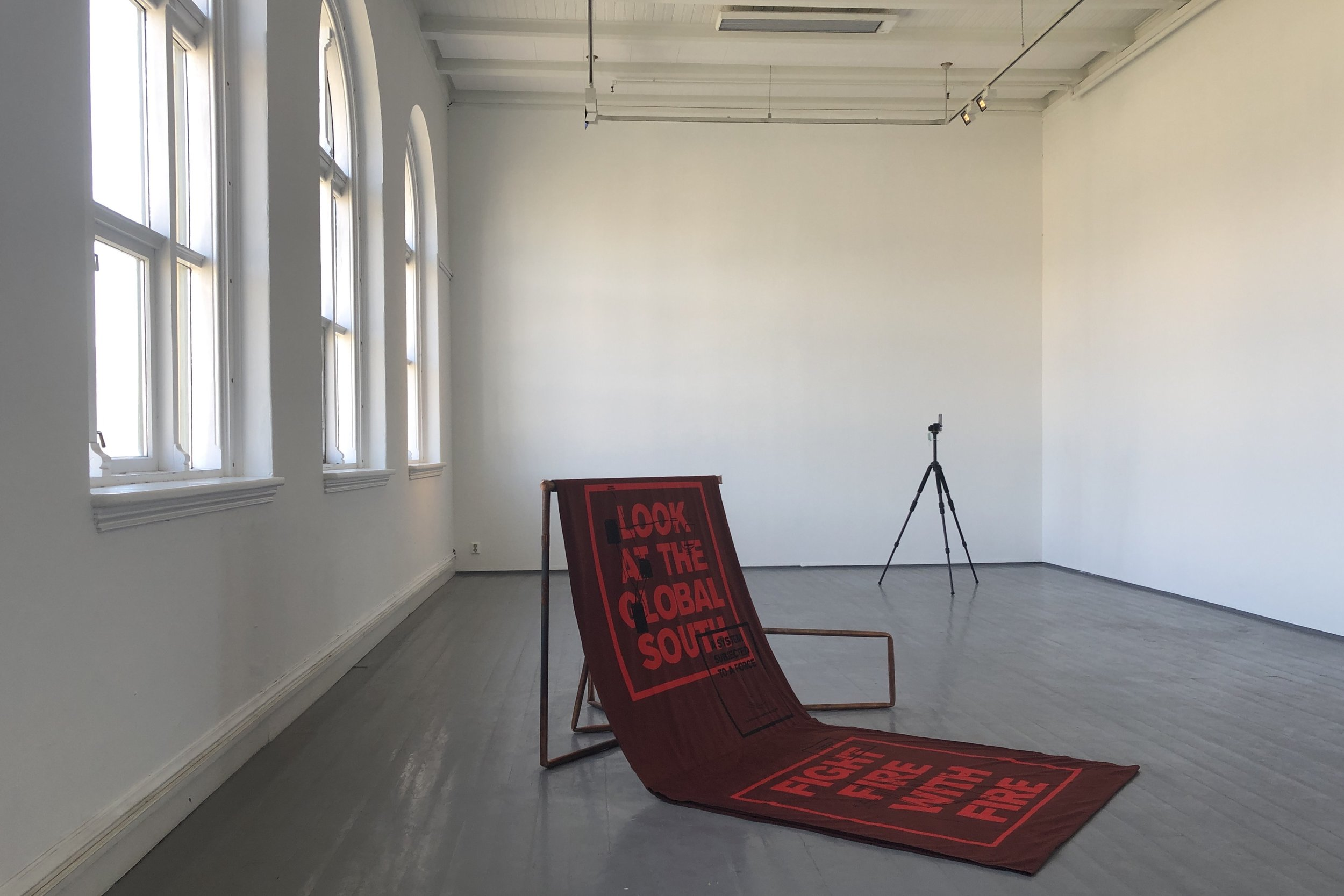 Bianca Hisse (MA): Four infrastructural movements for a burning social body (2019) Diagrams printed on fire-retardant textile and audio piece, 20 minutes. Photo: Hilde Sørstrøm
