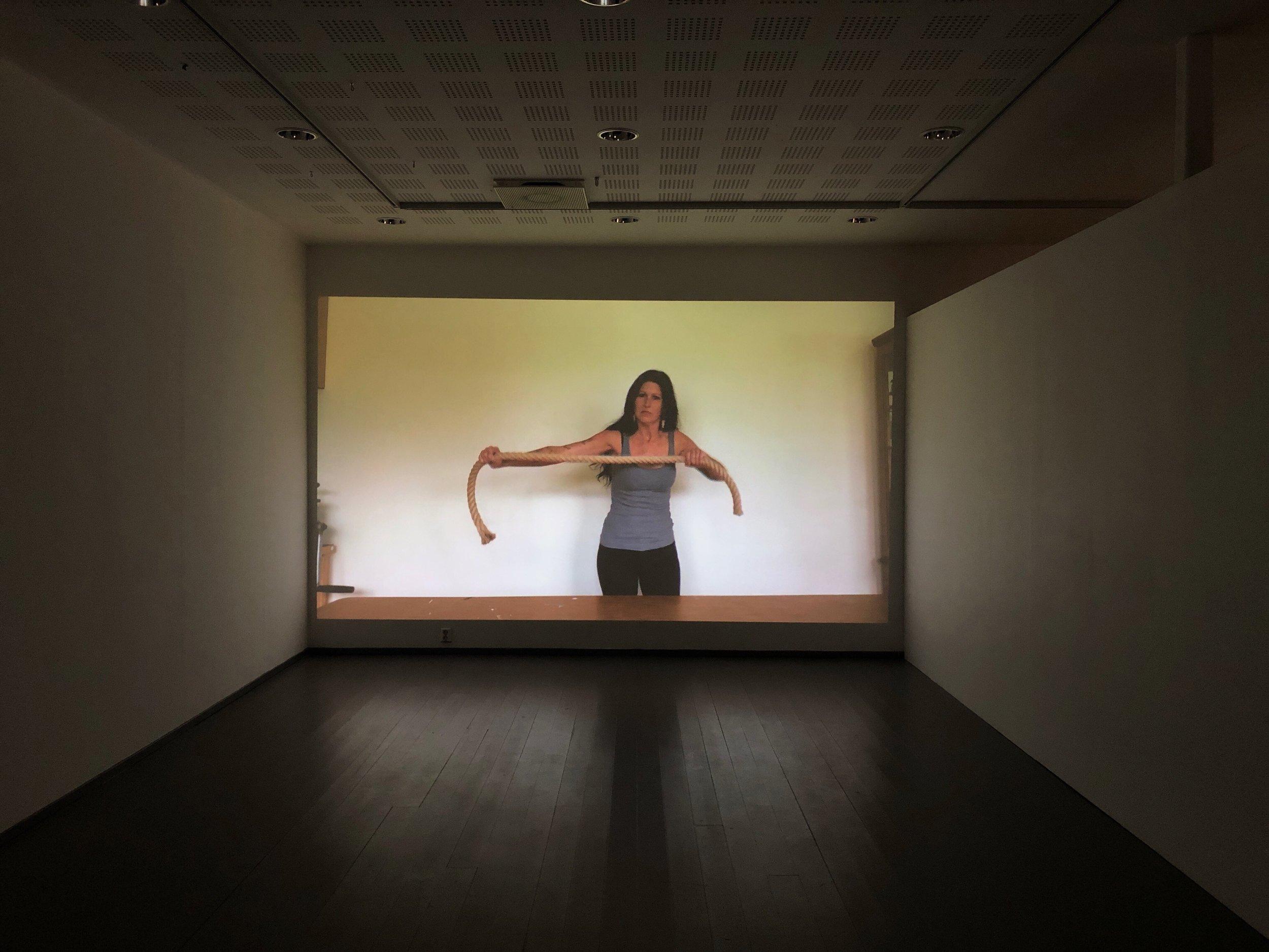 Merritt Johnson's video  Exorcise Global Health: Knowing the Ropes  (2019) premiered in the festival exhibtion. Photo: Hilde Sørstrøm