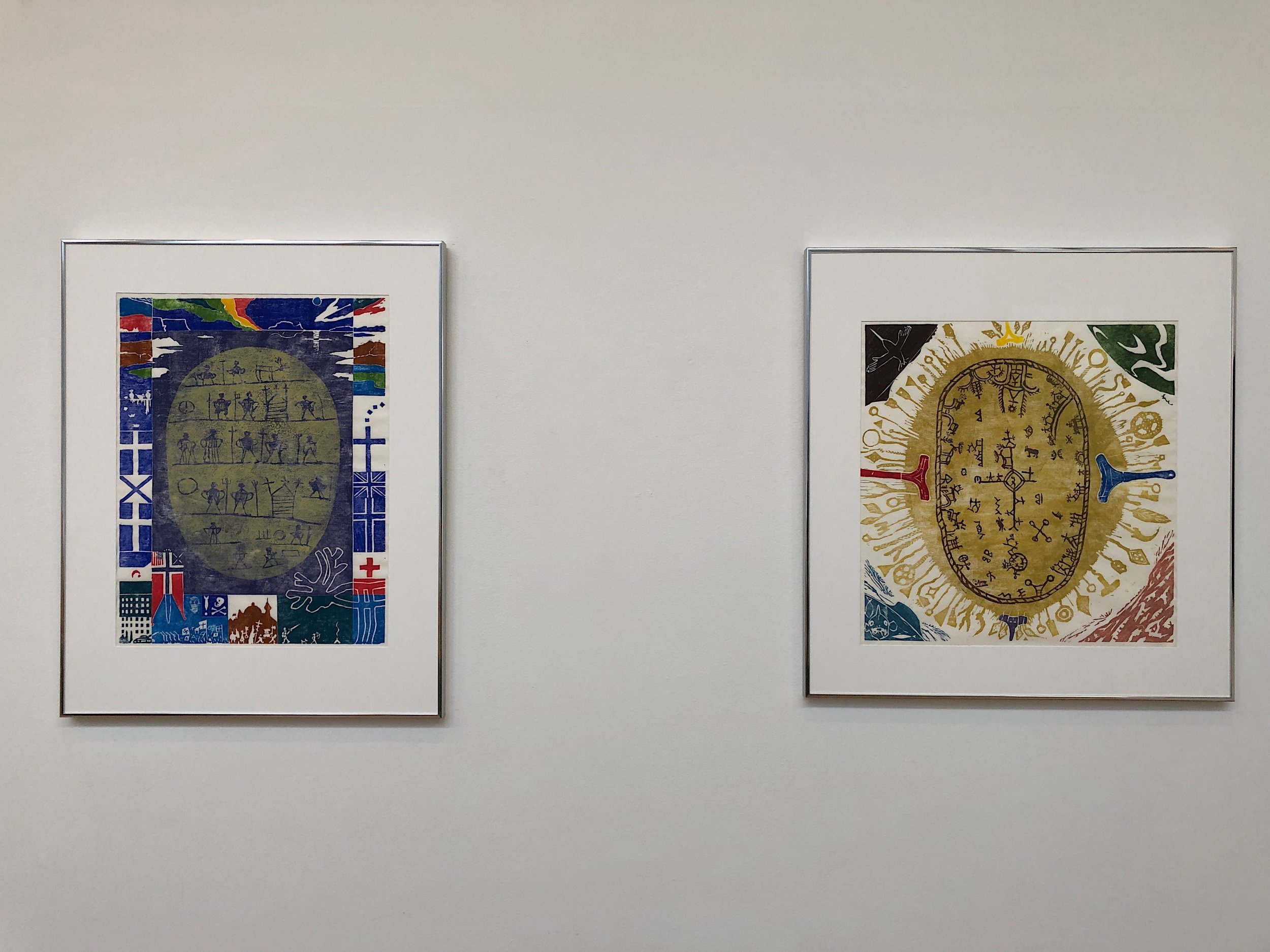 To the right; Ajamoste aajmoste/Nuppi Ilmmis nubbái (1995). Woodcut, monotype on paper. To the left; Geafes ráfi (1995). Woodcut, monotype on paper. Both by Hans Ragnar Mathisen. Photo: Hilde Sørstrøm