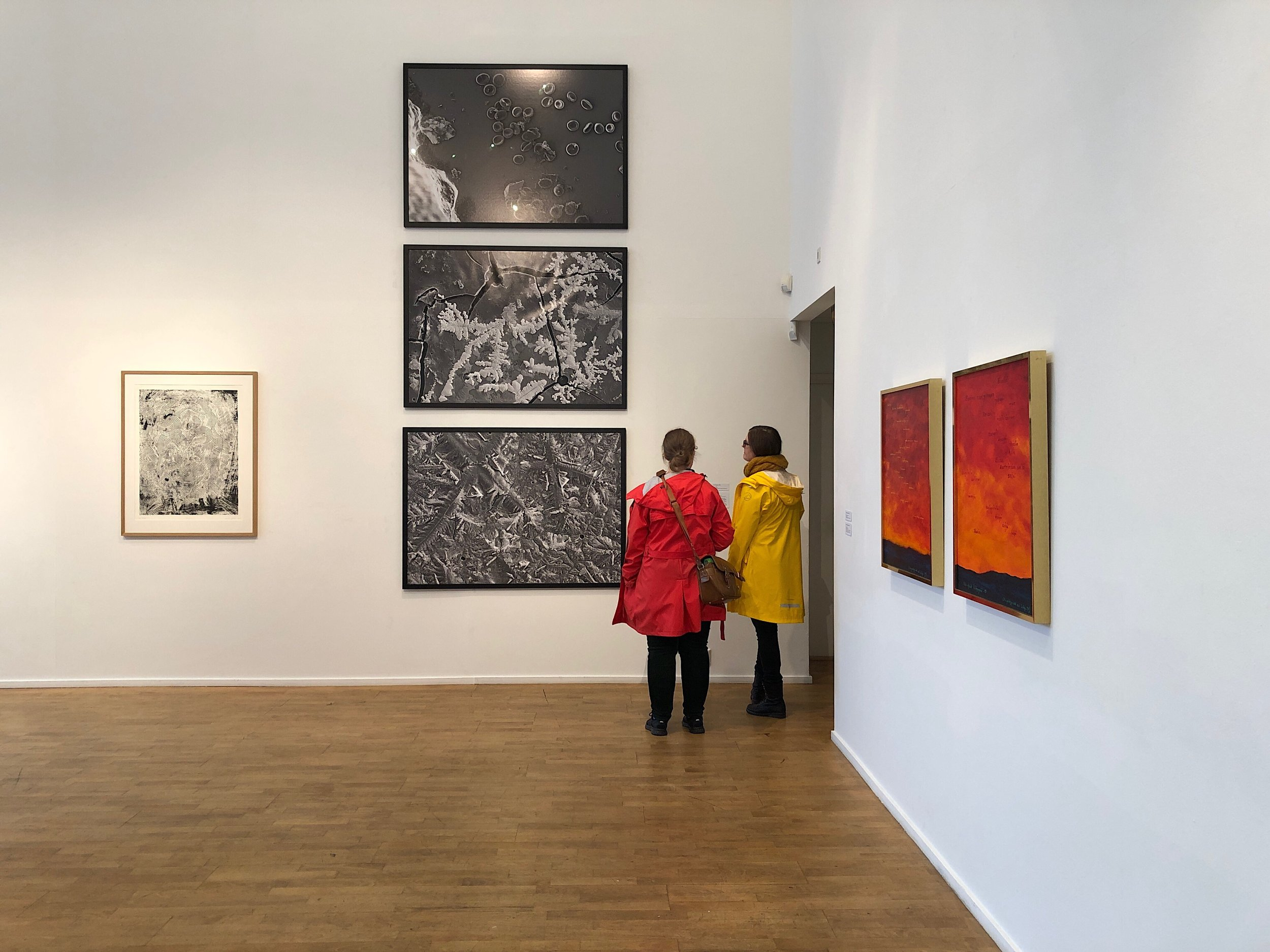 Gallery visitors looking at the series of three ink jet prints that make up the piece  Blood, Sweat and Tears  (2019) by Tanya Busse. To the left is Arnold Johansen's graphic work  Maske 3  (2013) and on the wall to the right is Nils Aslak Valkeapää's paintings  Beaivi  (1995). Photo: Hilde Sørstrøm