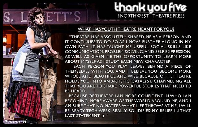 """We debuted """"thank you five"""" over on Facebook this week! We are so excited to continue to feature young actors and share how youth theatre has impacted their lives! We have an amazing line up of talent participating in this project! 👏🏻👏🏻👏🏻 #northwesttheatrepress #youththeatre #supportlocaltheatre #theatrechangeslives #thankyoufive"""