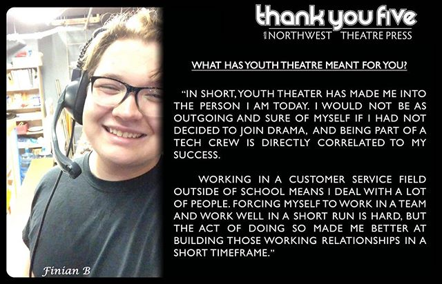 """Over on Facebook this week we met Finian!! . . A lot of times crew stays hidden in the shadows doing the very important work of making the show happen behind the scenes! We are so excited to include tech and crew kids in our """"thank you five"""" spotlights!"""
