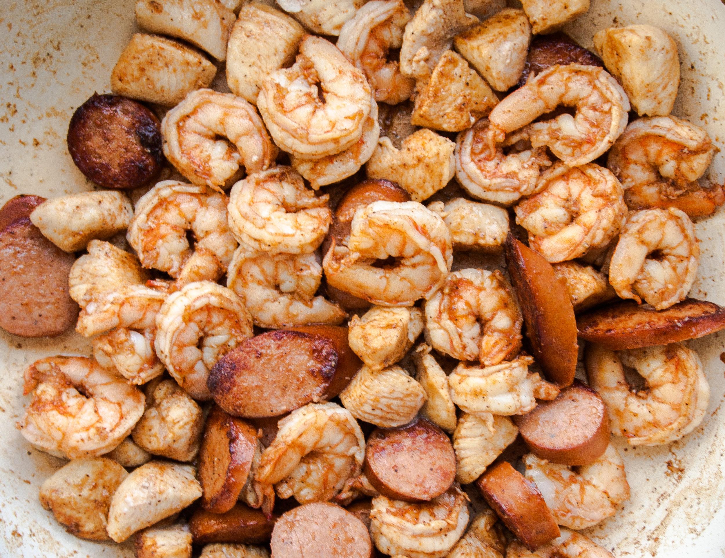 Jambalaya with Chicken, Shrimp and Andouille Sausage
