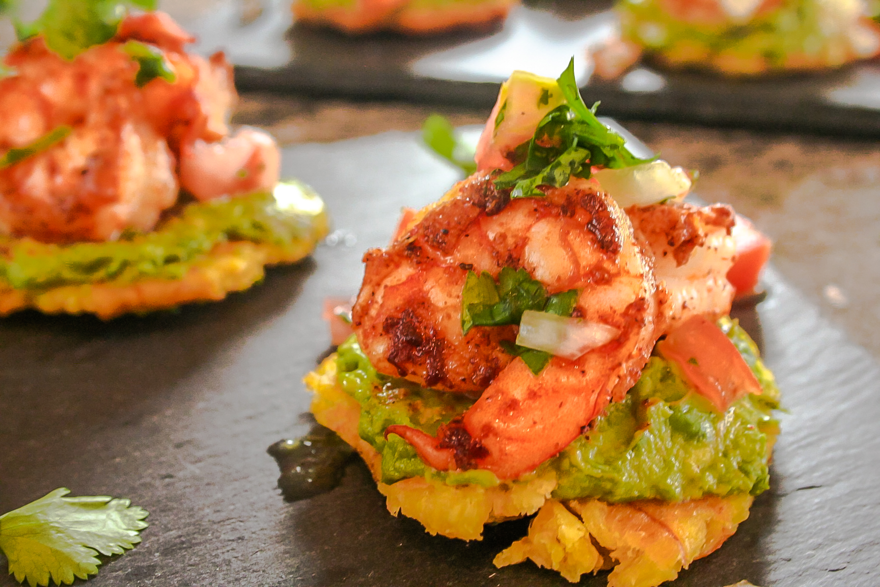 Blackened Shrimp and Avocado Patacones
