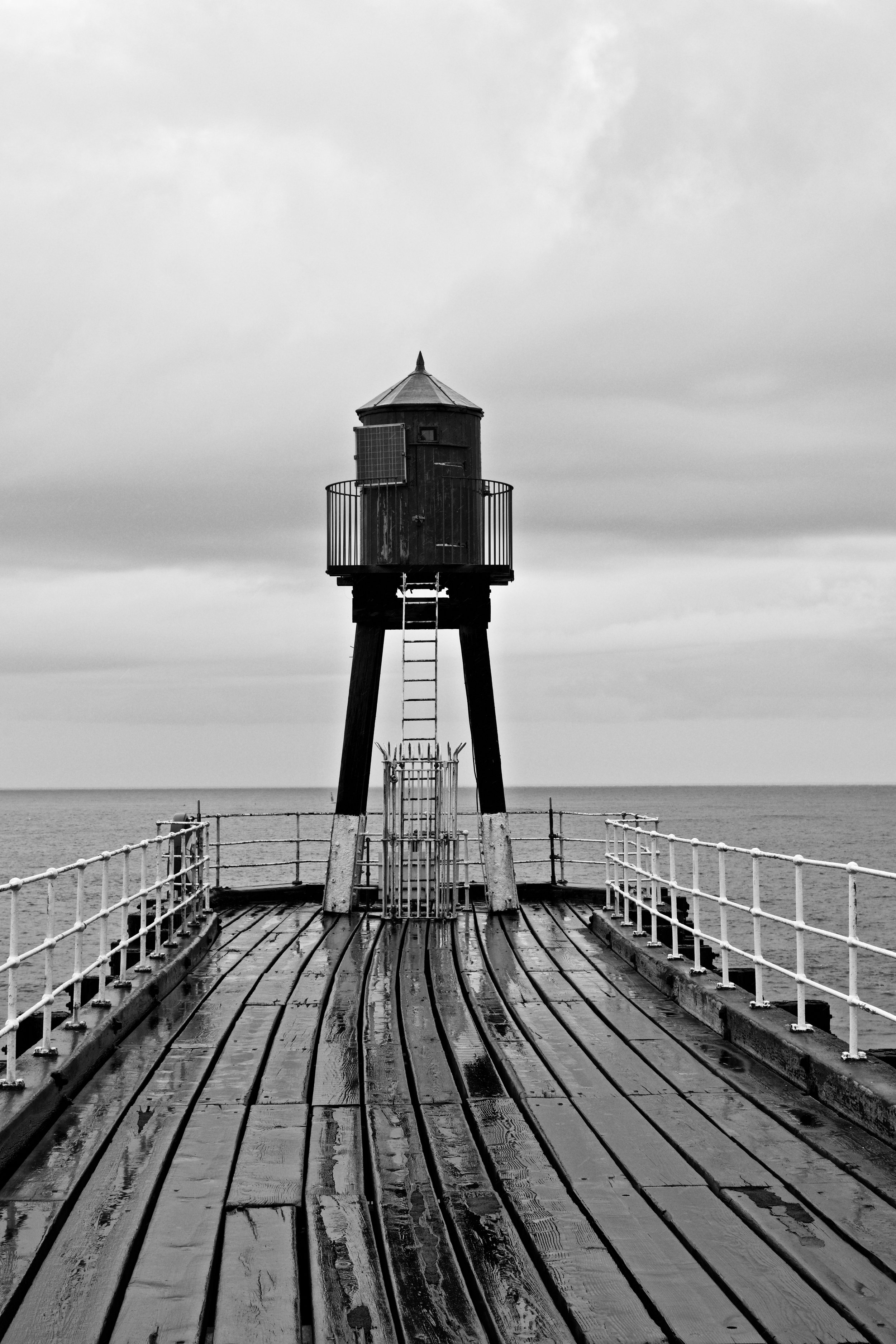 WHITBY PIER BLACK AND WHITE