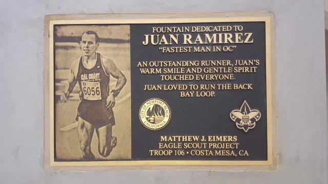 Plaque dedicating Drinking Fountain to Juan.