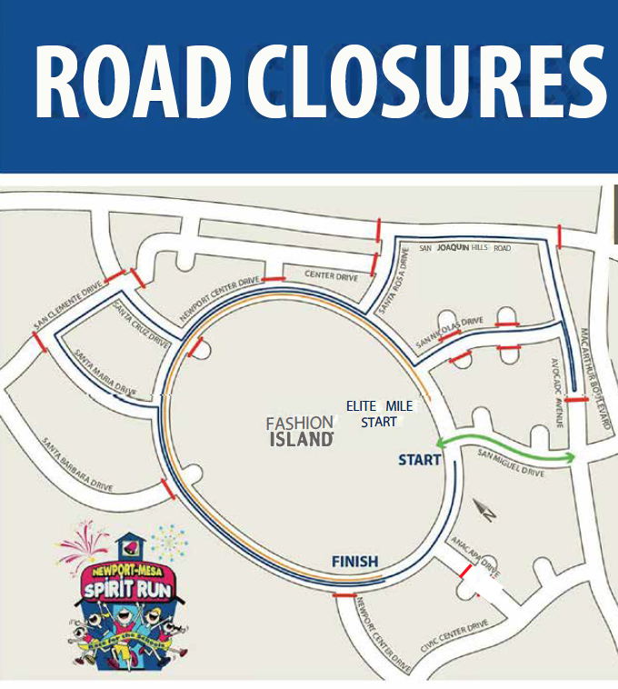 On race day morning, Sunday, March 17, 2019, roads surrounding Fashion Island and Newport Center will be temporarily closed starting at 4:00 a.m.