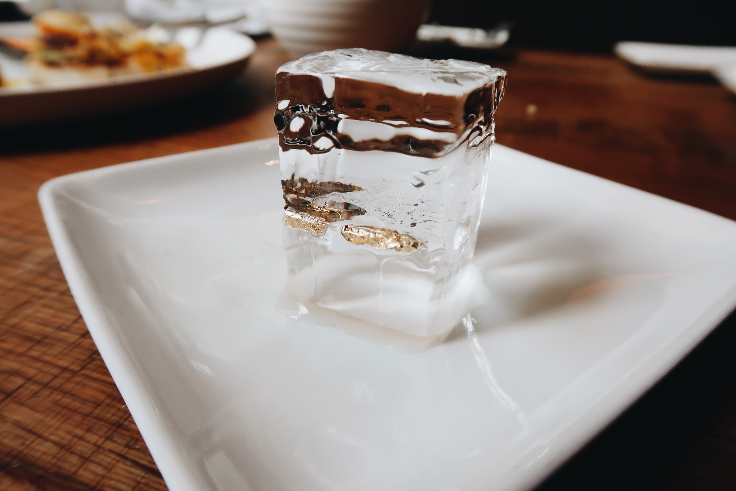 Spencer loves paying attention to little details && this is the ice cube that was in the drink above. we had to take a pic of course! That is edible gold!