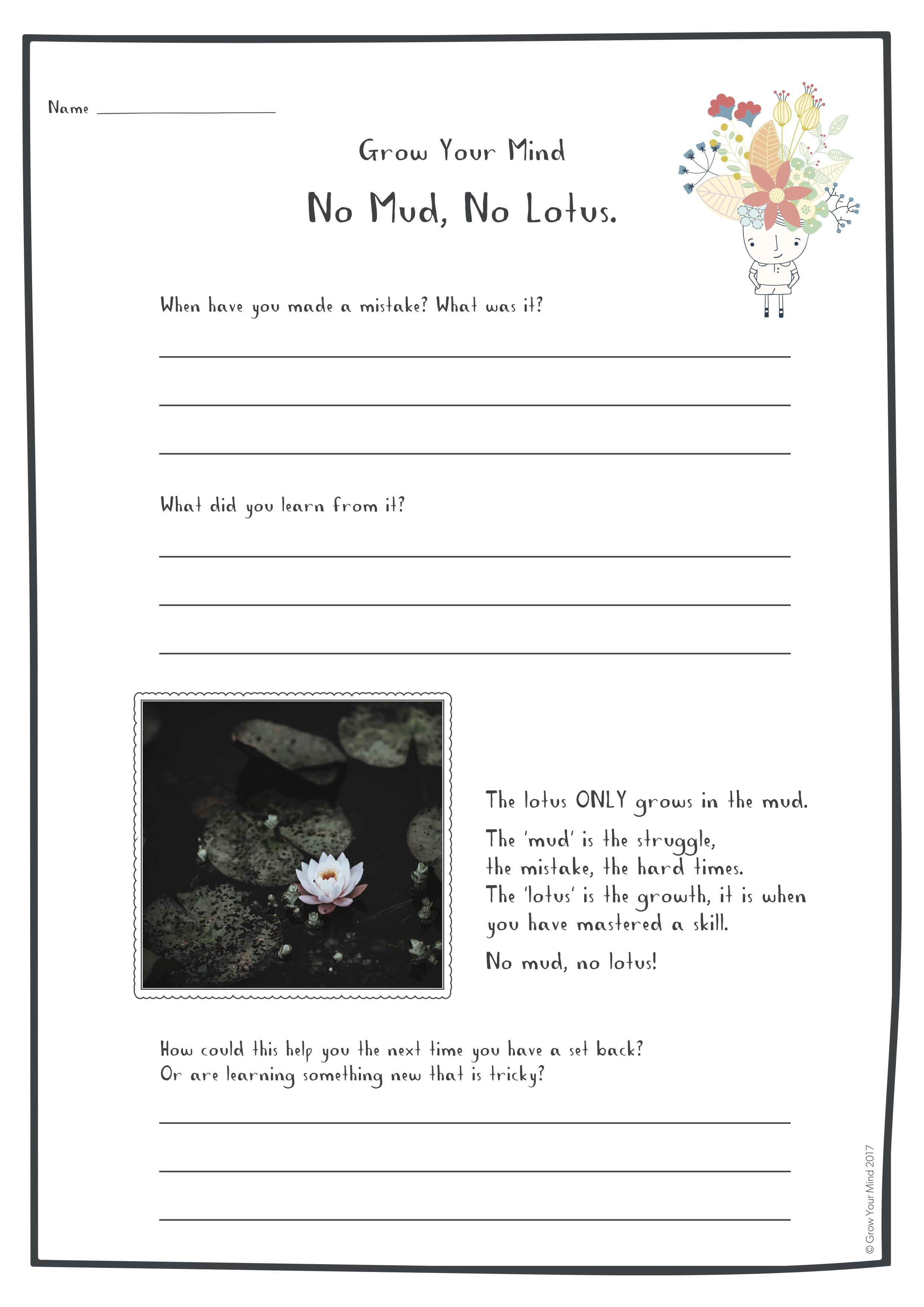 No Mud, No Lotus - For: Year 3-6Theme: ResilienceTo go with: Introductory lessons or use in isolation