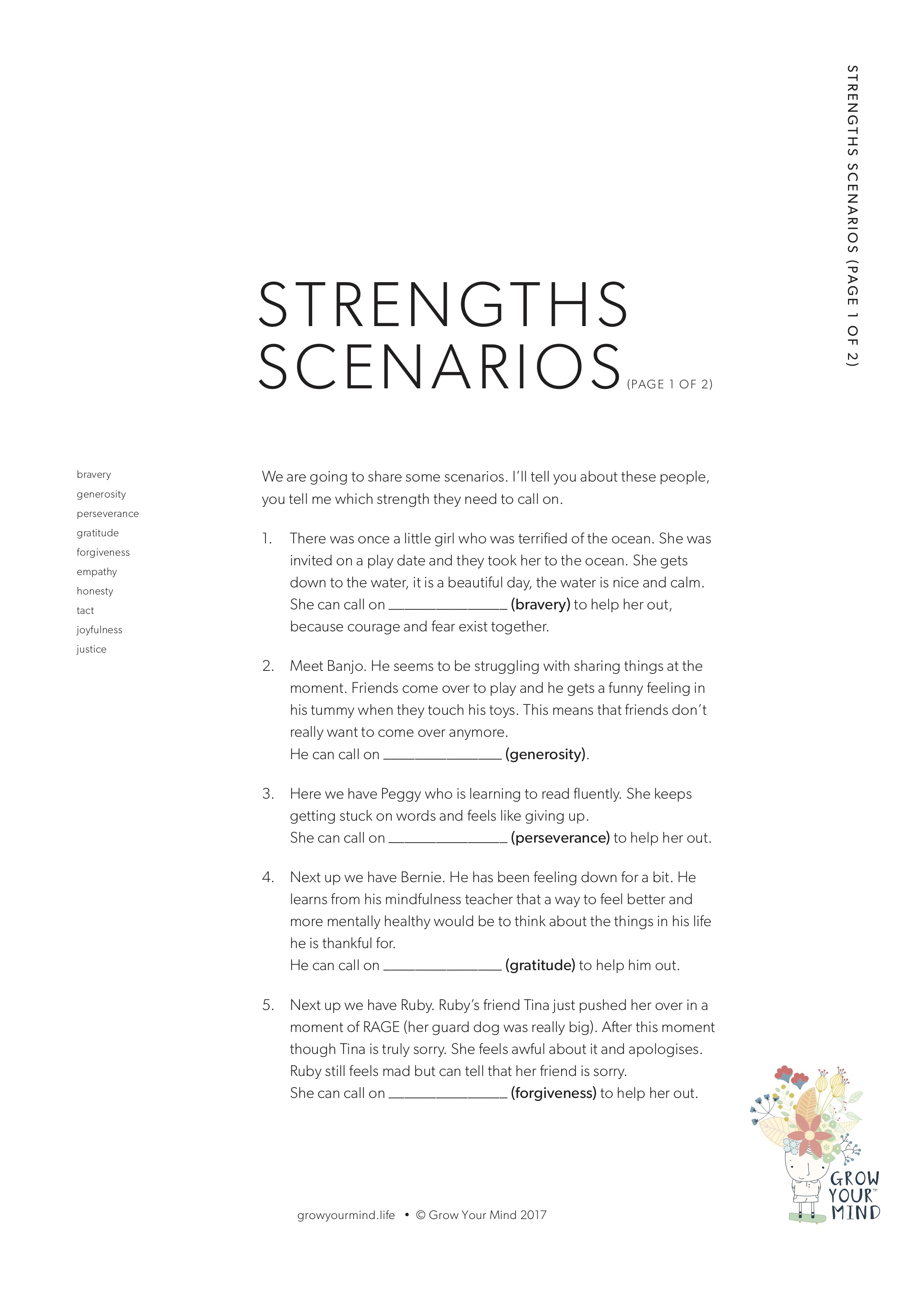 Strength Scenarios - A teaching resource to help embed the language of character strengths K - 3To go with: Introductory lessons, Strengths extension, Strengths poster or use in isolation