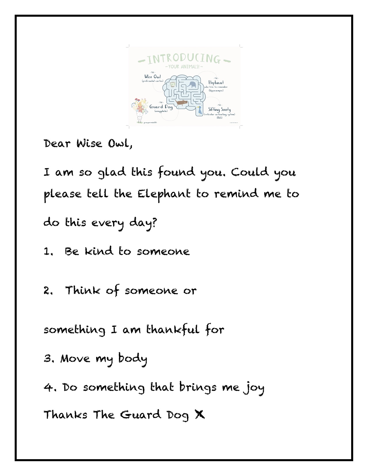 Dear Wise Owl - For: K-2Theme: Brain awareness, kindness, gratitudeTo go with: Introductory lessons or use in isolation