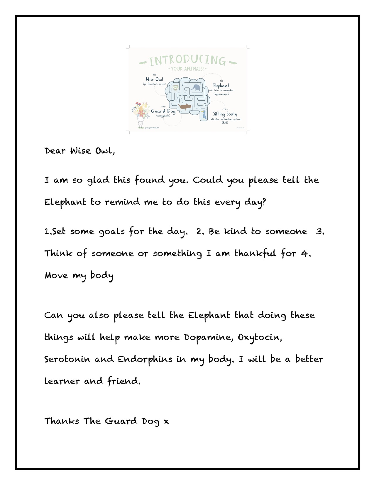 Letter to Wise Owl - For: Year 3-6 (to go with brain lesson)Theme: Brain awareness, kindness, gratitudeTo go with: Introductory lessons or use in isolation