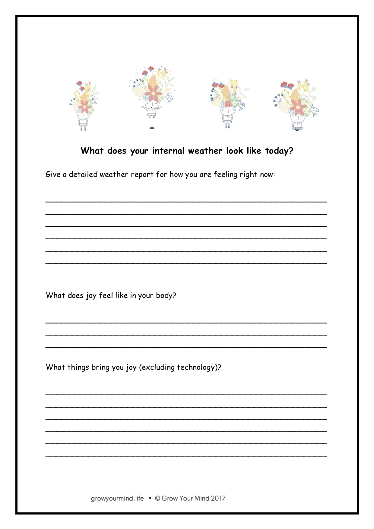 Internal weather worksheet - For: Year 2-6Theme: MindfulnessTo go with: Introductory lessons, Anger lessons or use in isolation