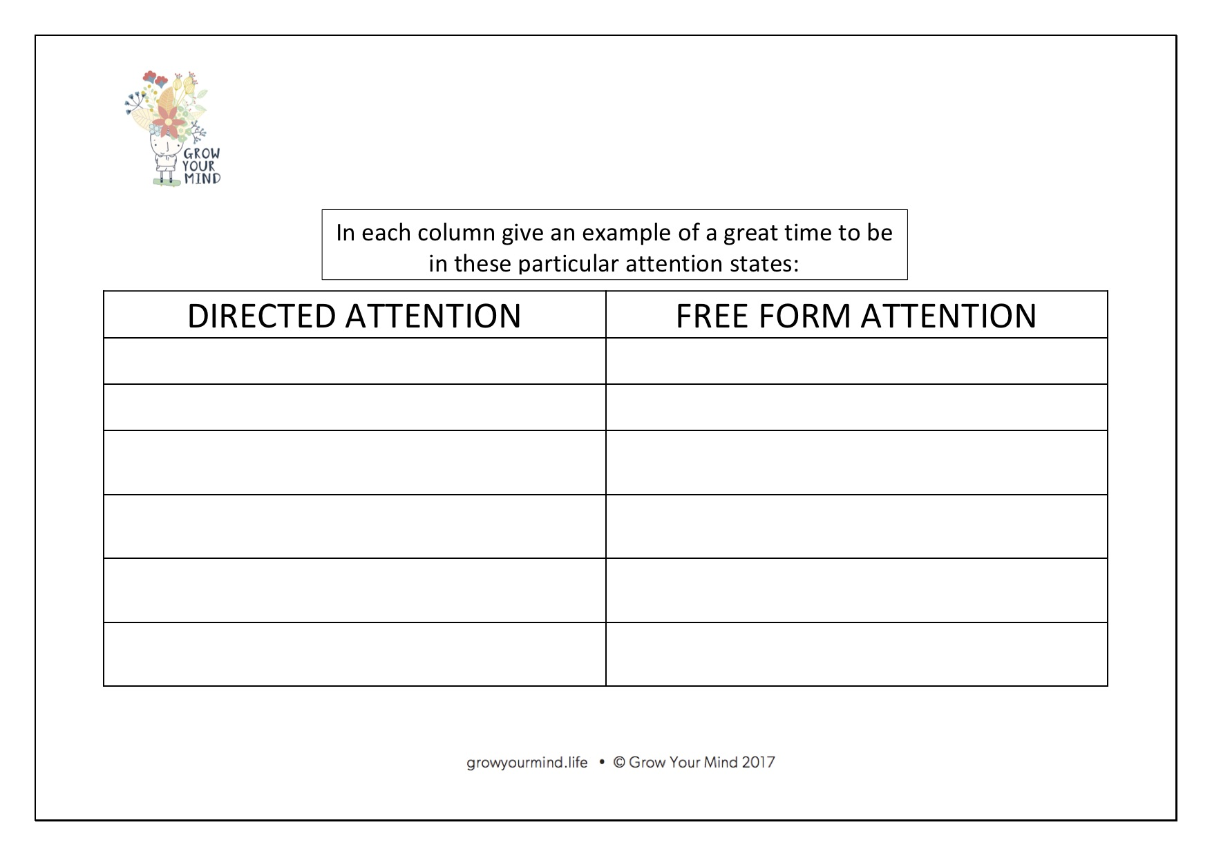 Directed vs Free Form Attention - This will compliment a lesson on focus, in particular for Stage 3.