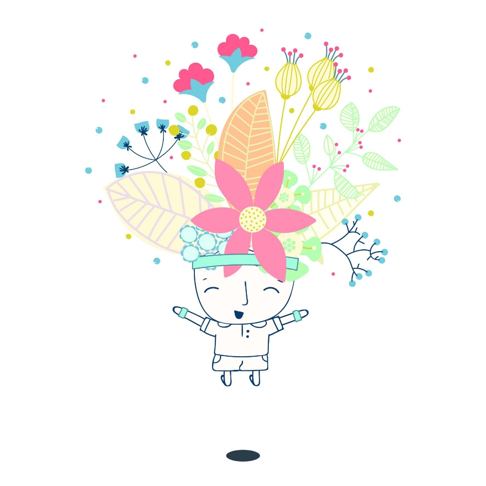 The 'Joyful Flower Dude'. Design by Jane Hunt
