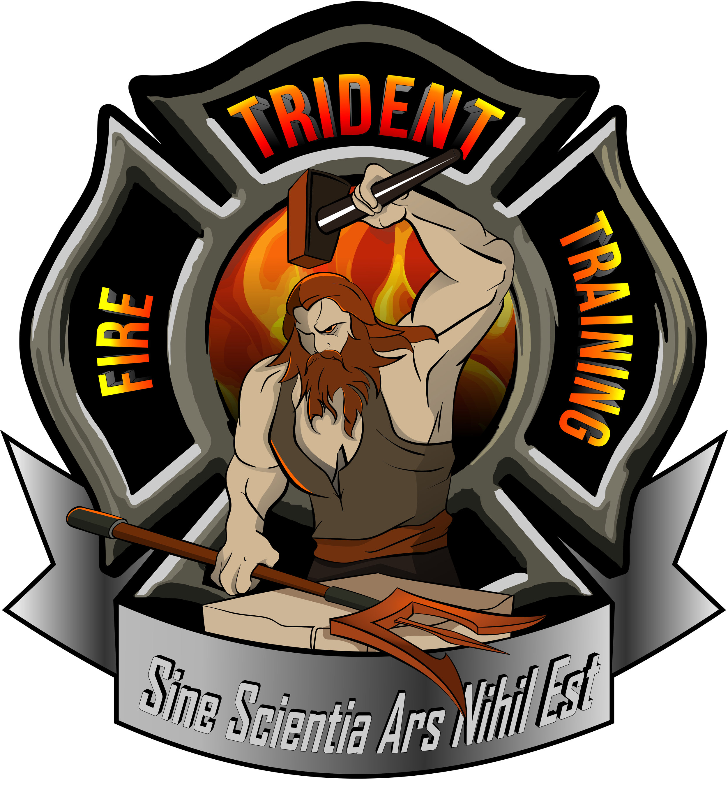 "Latin Translation: ""Without Knowledge Skill is Nothing""  Hephaestus Greek God of Fire and blacksmith creating the Trident"