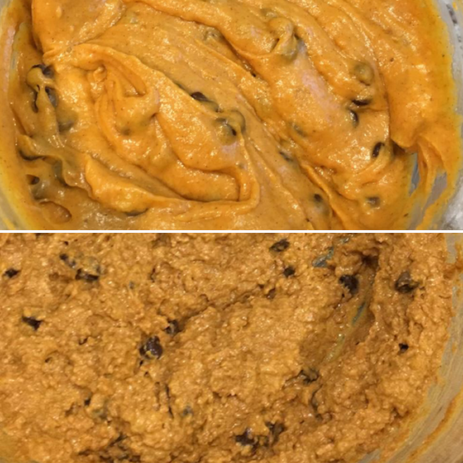 Top: muffins made with all purpose flour Bottom: muffins made with bran and all purpose flour