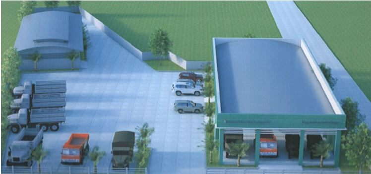 Rendition of proposed showroom and service area