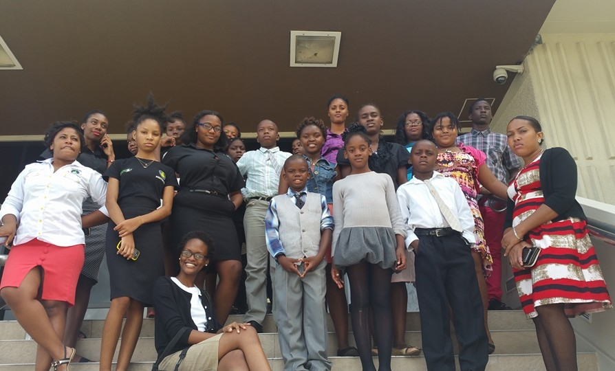 Members of the Tivoli Gardens Police Youth Club and The Positive Organization at the Bank Of Jamaica