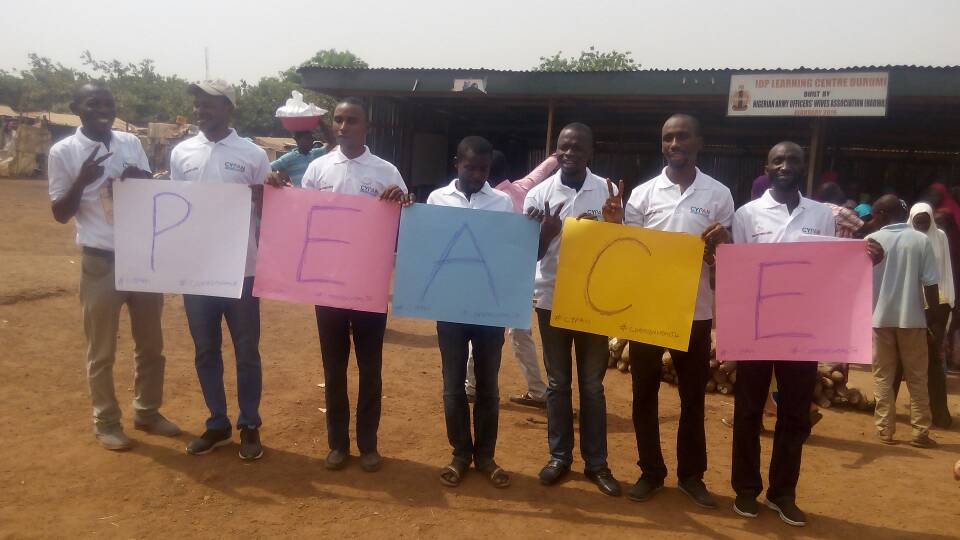 Odunze and his team promoting peace at an internally displaced persons (IDP) camp.