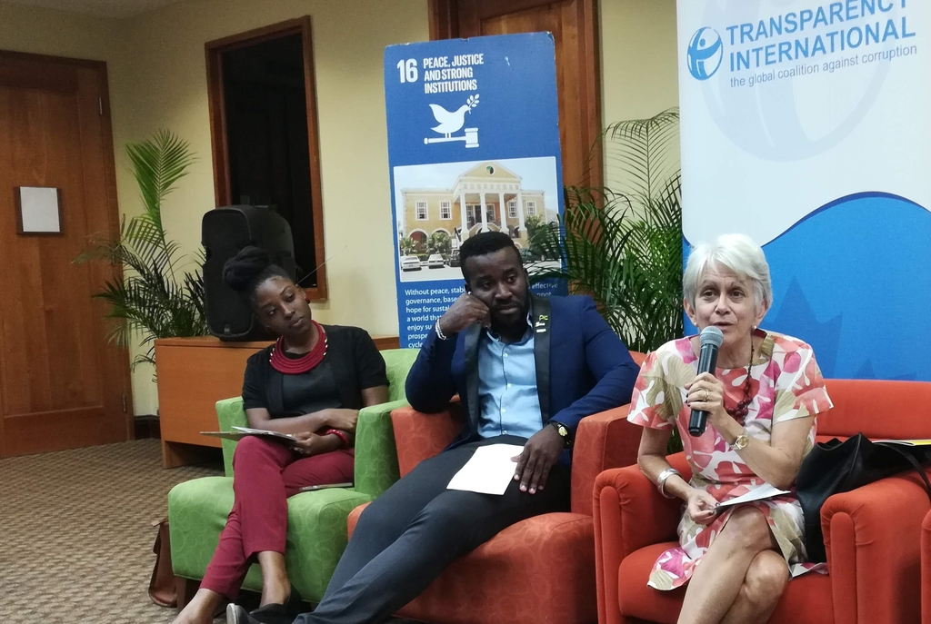 Chair, Violence Prevention Alliance, Dr. Elizabeth Ward (right) making a point during panel discussion at the Youth Month Forum hosted by the National Integrity Action and Equality Youth Jamaica at the UWI Regional Headquarters, Mona, recently. Other panelists included: Coordinator for the Commonwealth Youth Peace Ambassadors Network Jamaica, Neville Charlton (centre) and Kethania Griffiths of Youth Crime Watch of Jamaica.  (Source Loop Jamaica)