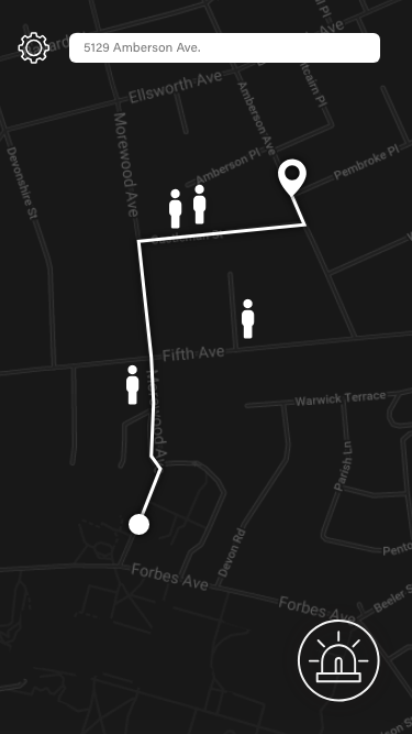 Map  Map & home page directs students to their destination and shows other nearby students on their route home (anonymous)