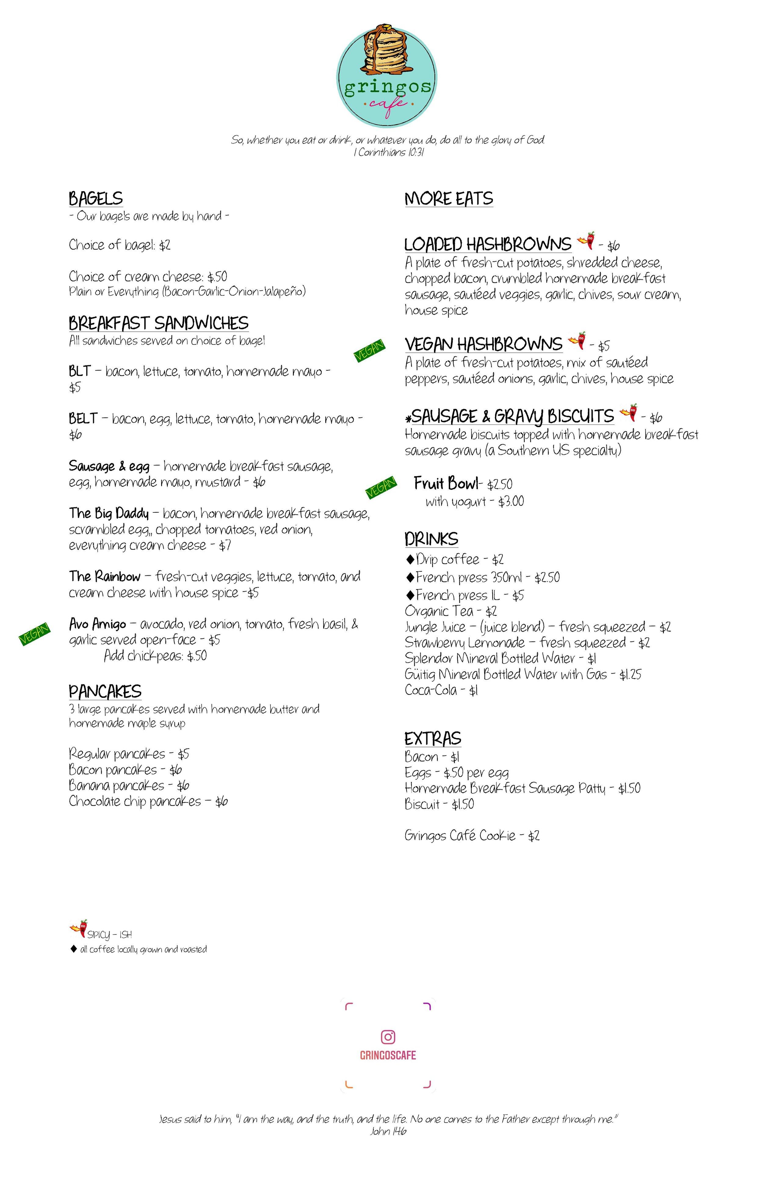 gringos café menu en español