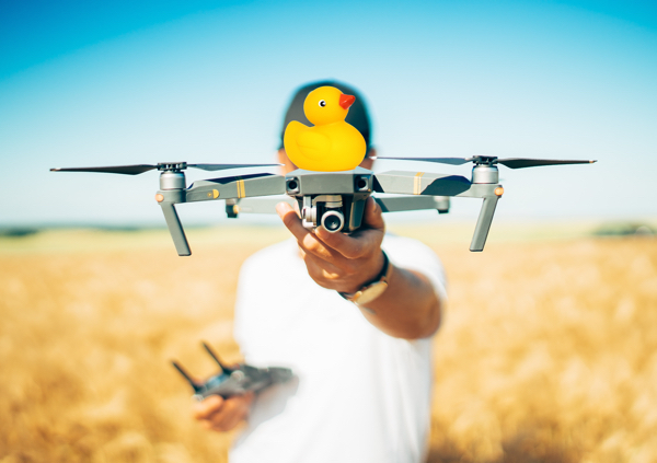 "Strap your rubber ducky to a drone and buzz your friends while yelling, ""Duck!"""