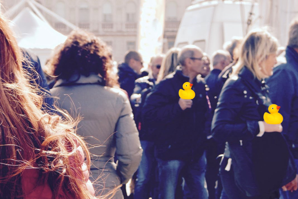 Give rubber ducks to random strangers while wishing them Happy National Rubber Ducky Day!