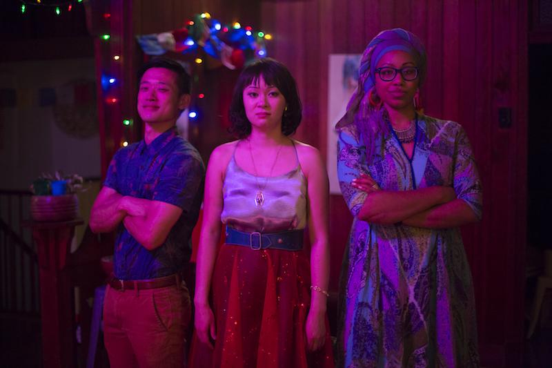 George Zhao (Eddy), Michelle Law (Michelle), and Yassmin Abdel-Magied (Sadie) in  Homecoming Queens.