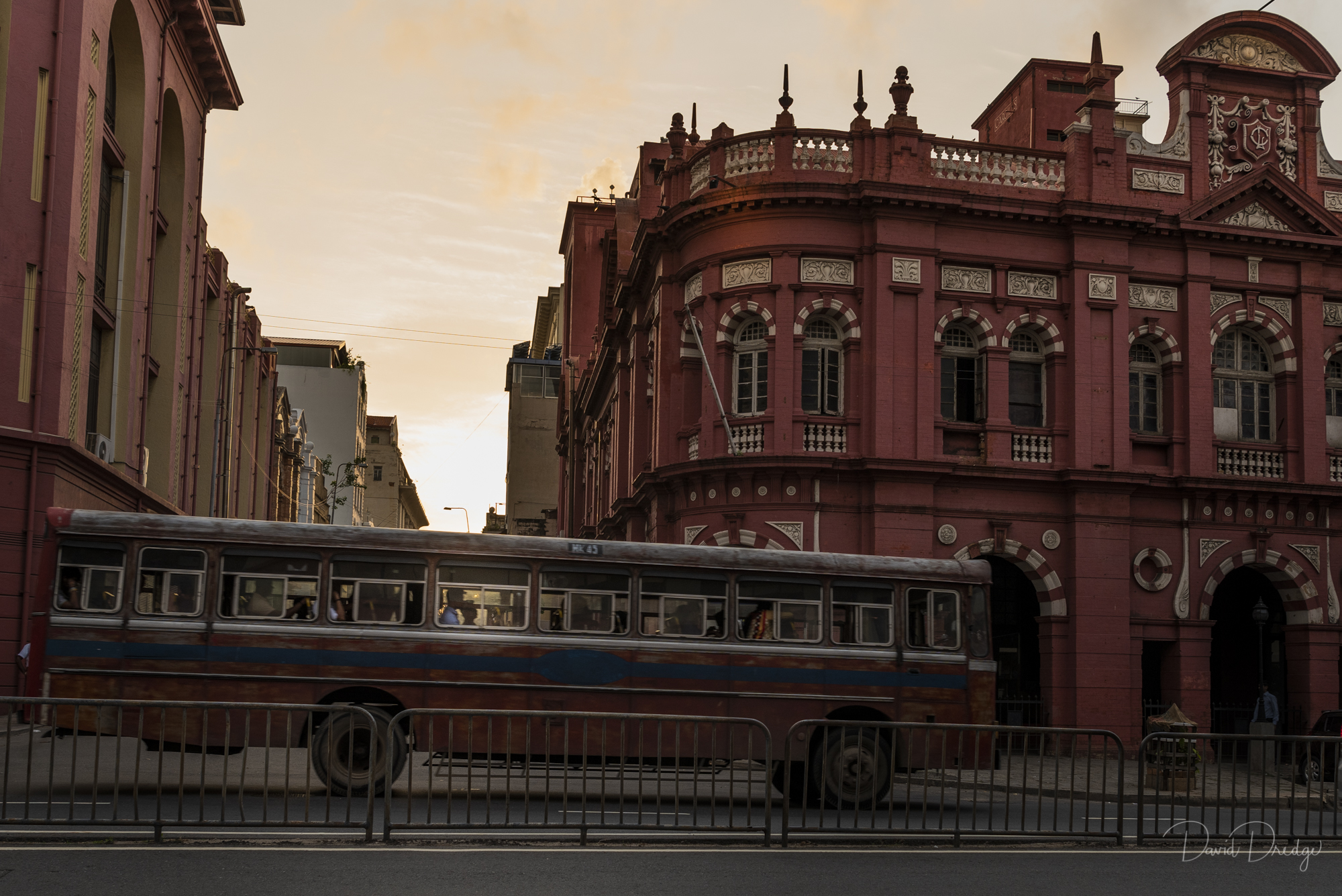 Sunset Urban Bus and Colonial Architecture Colombo