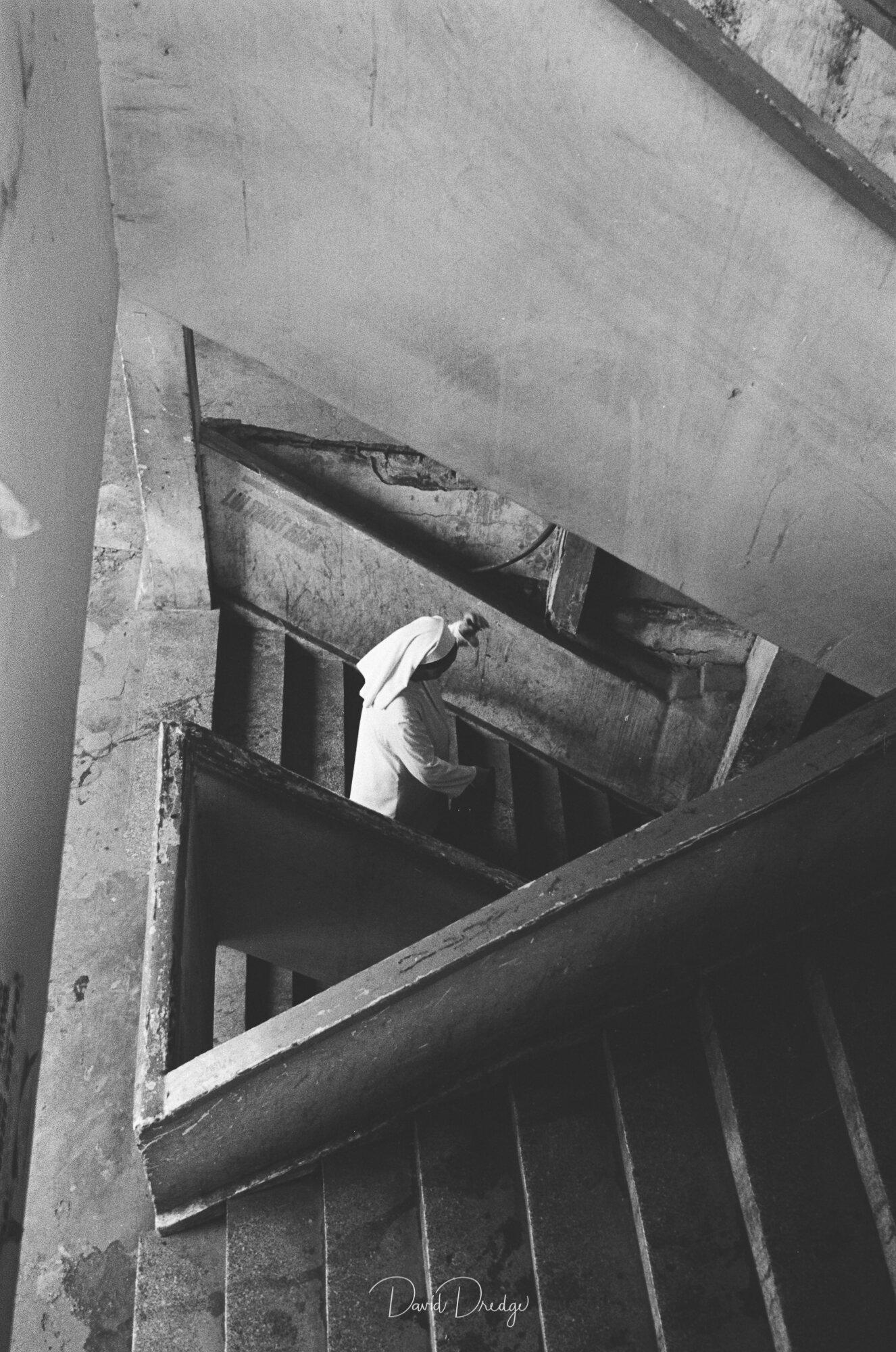 David Dredge Art Print Street Photography Stairs and Nun