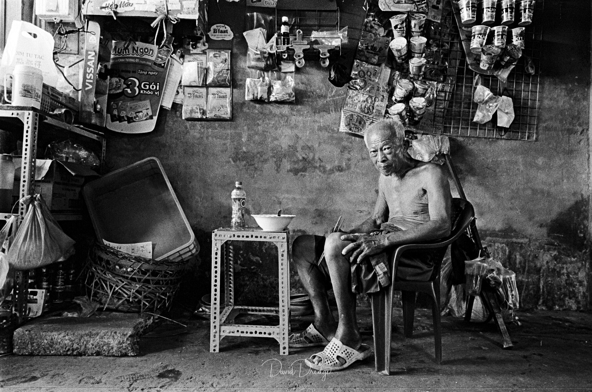 Black and White street photography Breakfast Alley