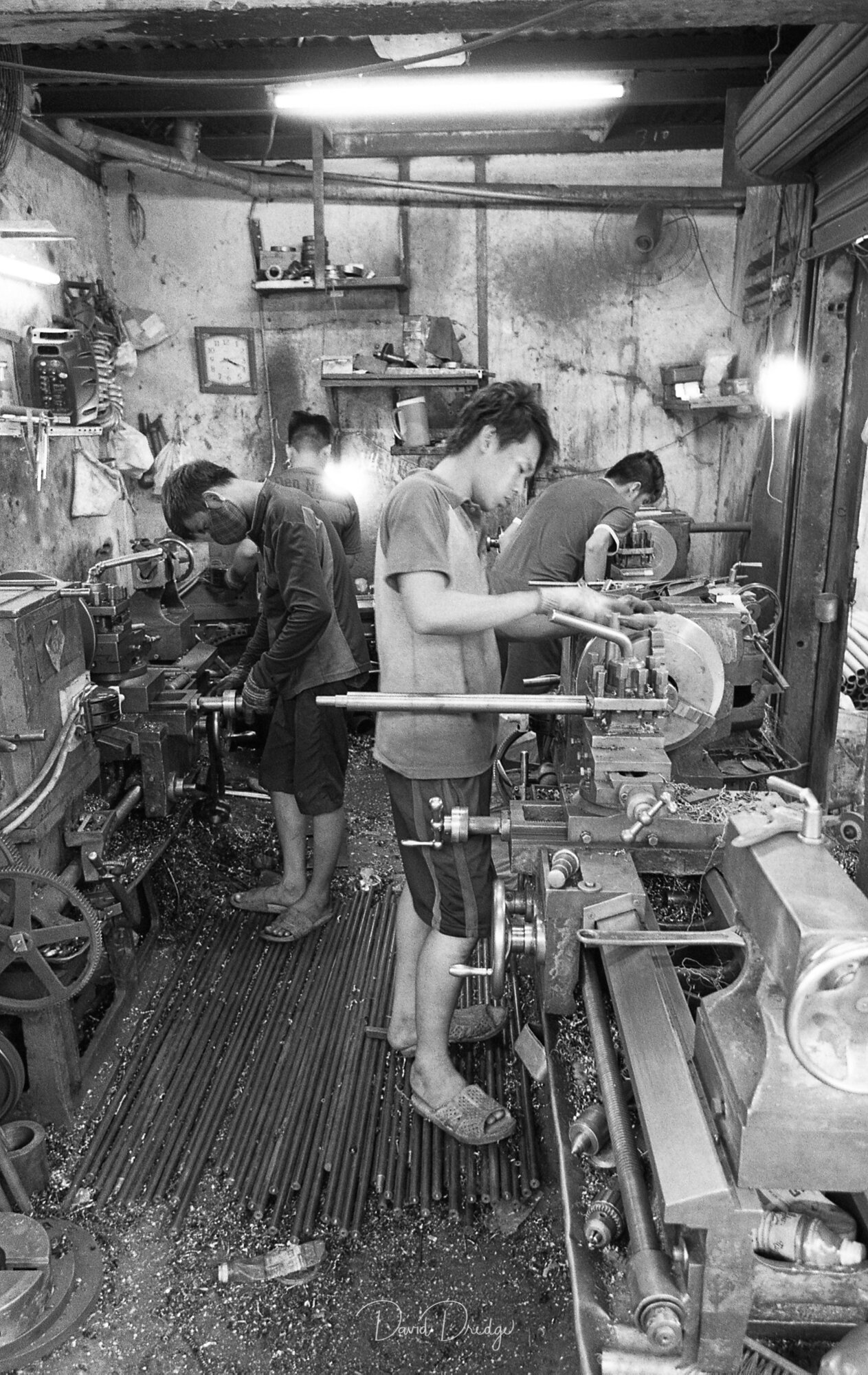 Young workmen BW street photography