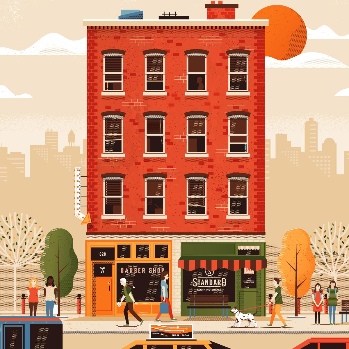Street Life Plaid Mtn Illustration By Matthew Loren Carlson