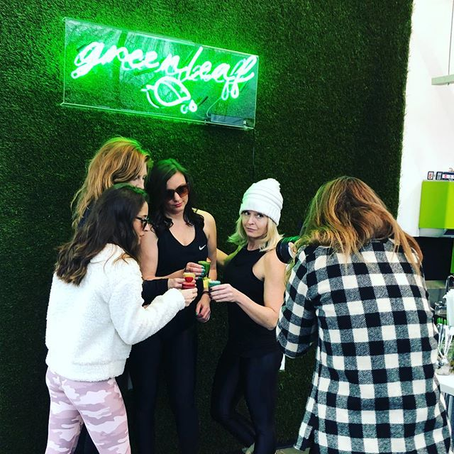 Bottoms up 🙌🏻 Thanks to our neighbors @greenleafjuice for keeping us hydrated and healthy whether we are post RIDE 💪🏻or post Saturday night fun 😩 #sundayfunday #alltheshots #wheatgrass #keepitreal #indoorcycling #pdxfitness #ridepdxslabtown