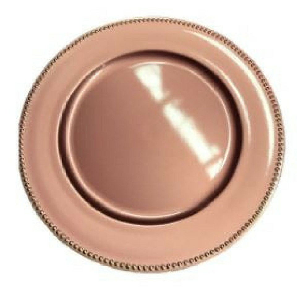 Rose gold beaded charger plate