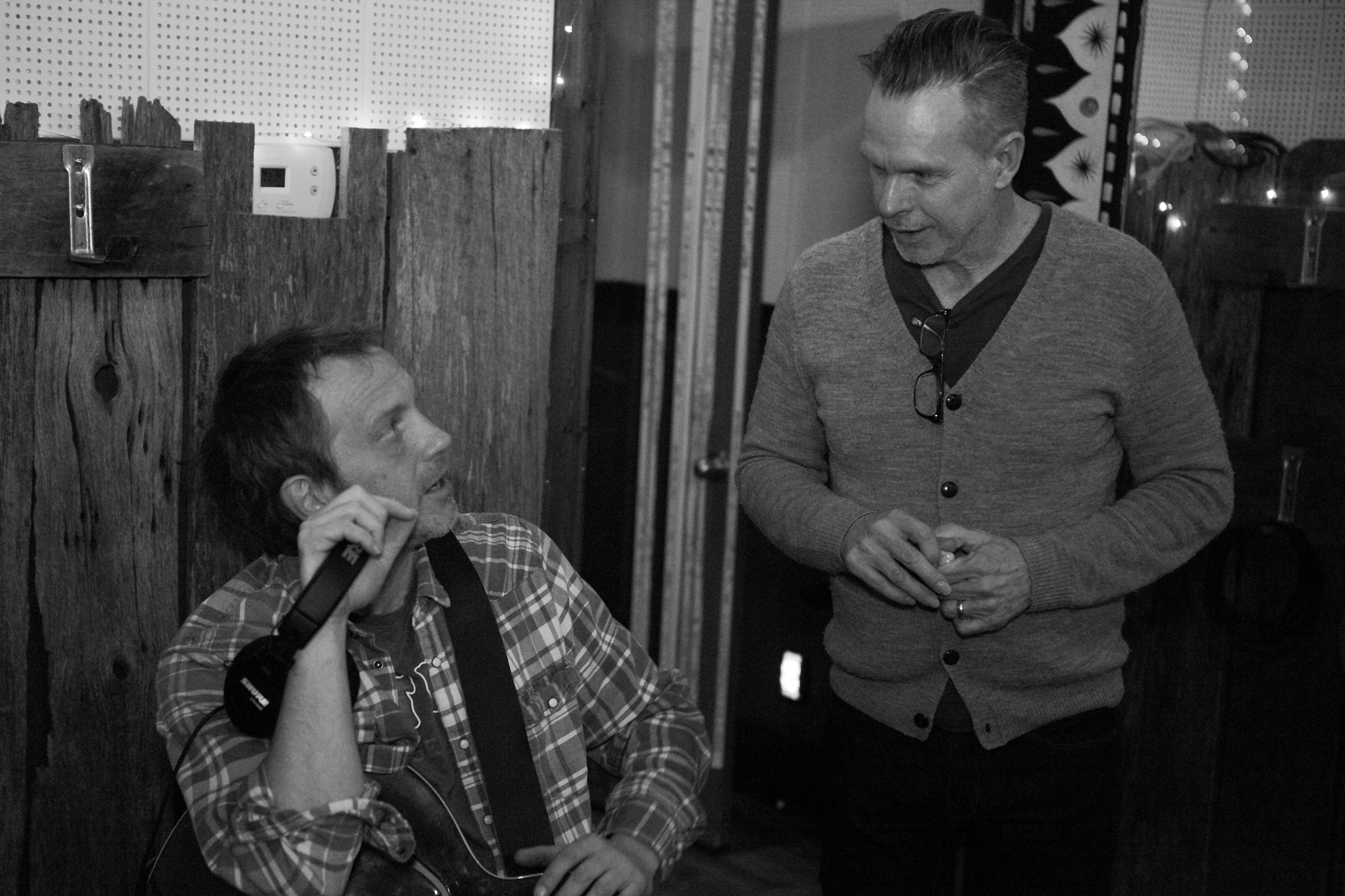 Guitarist Doug Lancio talking with Producer Rick Price during the recording of 'Broken Bread' at Sputnik Sounds studio in East Nashville. [Photo Credit: Price Harrison]